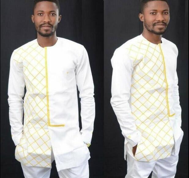 TOP ONLY African Clothes African Men Roupa Africana Dashiki Men African Grid Shirts For Men Nigerian Traditional Clothing