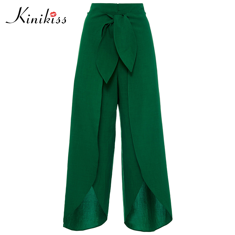 a564681b6d Detail Feedback Questions about Kinikiss Women Casual Wide Leg Pants Green  Yellow Bow Pleated Trousers Lady Fashion Elastic Waist Loose Canvas Split  Long ...