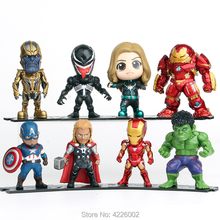 Avengers Venom Capatain Marvel Thanos Hulk Ironman PVC Action Figures Thor Super heroes Collectible Dolls Figurines Kids Toys цена и фото