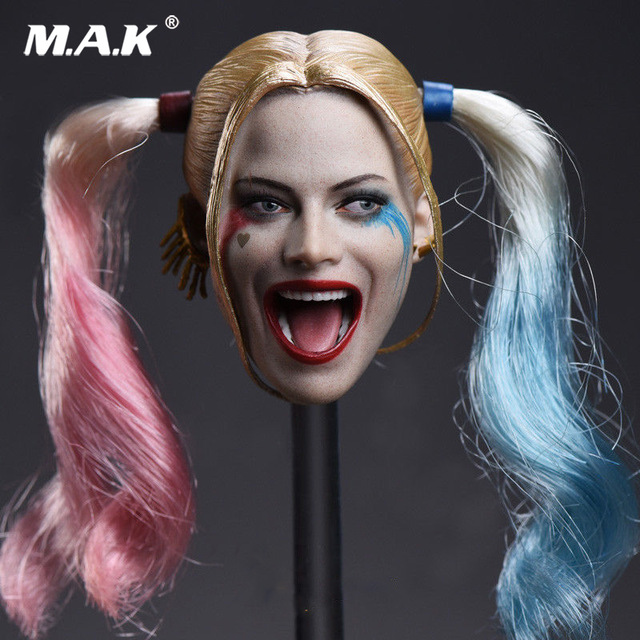 1/6 Scale Female Head Carving JX-012 Female Suicide Squad Harley Quinn Head Sculpt Model for 12 Inches Figures