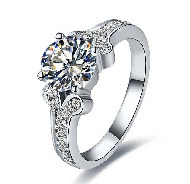 1C Moissanite Female Pure 18K White Gold Ring High Quality