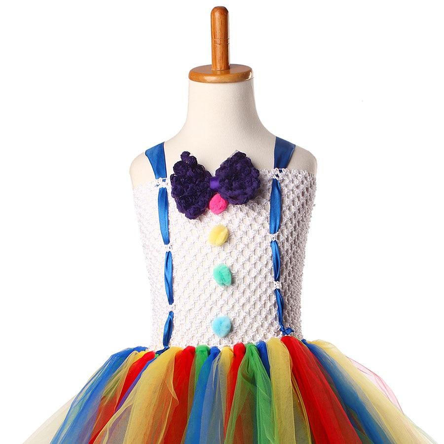 Girls Circus Fancy Clown Tutu Dress with Bow Children Handmade Rainbow Tulle (13)