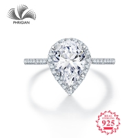 Sona D colour Fine Engraving Ring S925 Sterling silver Diamond Custom ring Marry me ring 925 carat pear cut