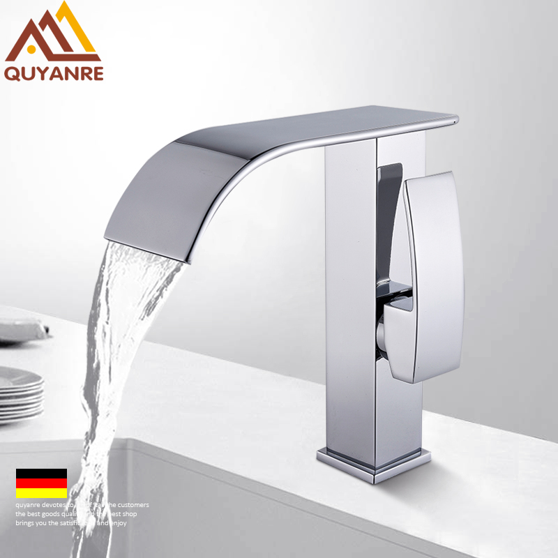 Quyanre Chrome Waterfall Basin Sink Faucet Single Handle Mixer Tap Hot Cold Water Mixer Tap Bathroom Lavatory Basin Faucet Tap waterfall basin faucet chrome single handle brass basin mixer tap bathroom deck mounted vessel sink hot cold water tap mixer