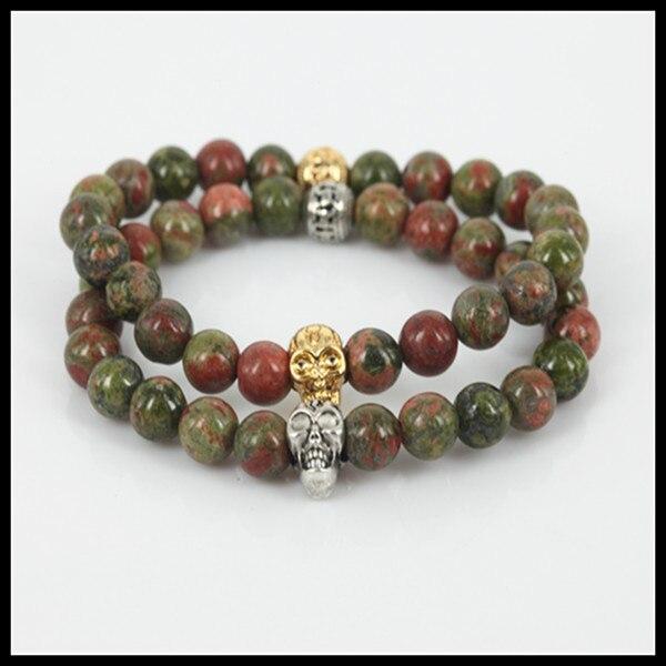 Nova pedra natural 8mm unakite rodada jóia contas de pedra homens pulseira de contas crânio cabeça mulheres estiramento charm bracelet