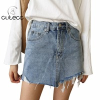 Sexy Mini Jean Skirts High Waist Bodycon Summer Women Pockets Pencil Skirts Casual Slim Blusas Femme