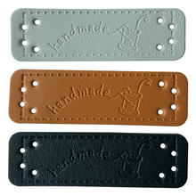 48pcs/lot Handcraft Hand made leather labels with sewing logo for clothing hand made gift  leather label for handmade labels win win logo hand made leather labels for gift sewing win logo hand made tags for clothes gift handmade leather sewing label
