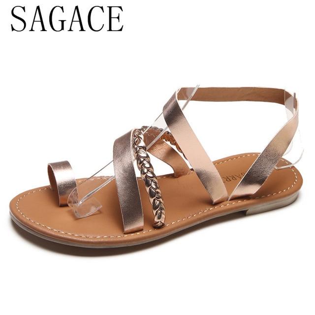 621549d05f35a 2018 SAGACE Women Summer Strappy Gladiator Low Flat Heel Flip Flops Beach  Shoes Woman Sandals Women Shoes Rhinestones  1
