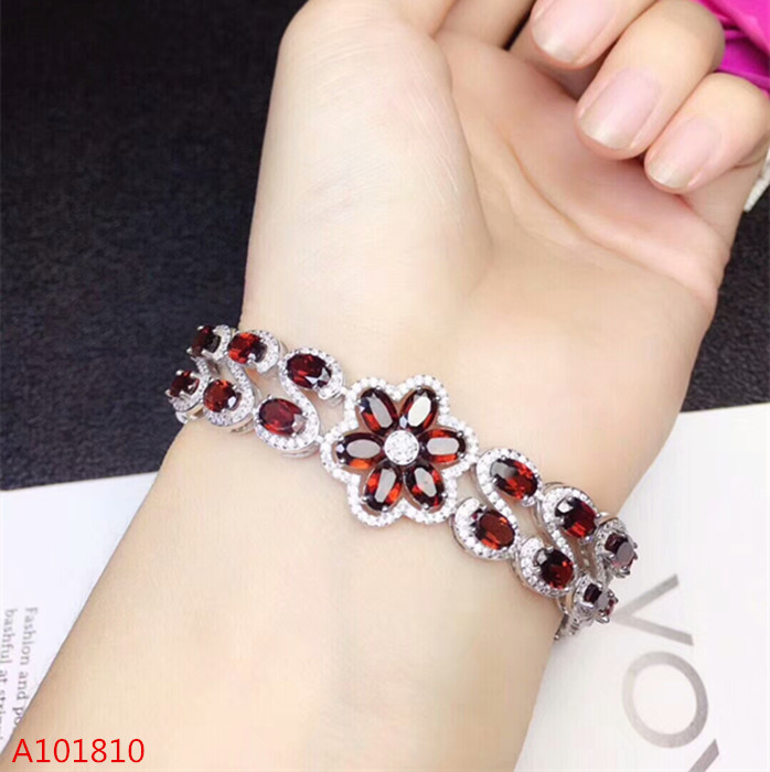 KJJEAXCMY fine jewelry 925 pure silver inlaid natural garnet bracelet bracelet inspection supportKJJEAXCMY fine jewelry 925 pure silver inlaid natural garnet bracelet bracelet inspection support
