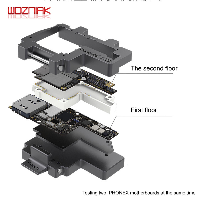 Image 2 - WOZNIAK QIANLI iSocket for iPhone x xs / xs max motherboard test fixture For IPHONEX double deck motherboard Function Tester-in Power Tool Sets from Tools