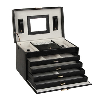 Black Large Jewelry Box Leather Velvet