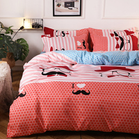 Cartoon Red Mustache Pattern Bedding Sets Full King Twin Queen Size 4Pcs Bed Sheet Duvet Cover Set Pillowcase Without Comforter