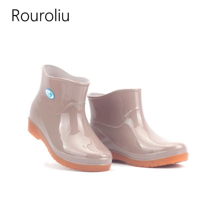 Rouroliu Women Fishing Work Shoes Warm Rainboots Female Spring Fall Winter Waterproof Non Slip Rain Boots Woman Wellies RB63