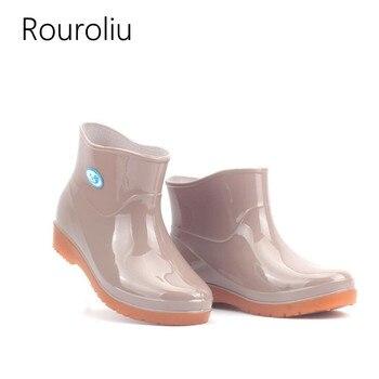 c0c8e25c7 Rouroliu mujeres pesca zapatos de trabajo zapatos caliente Botas de lluvia  de mujer primavera Otoño Invierno