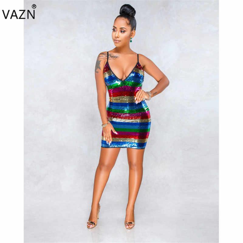 ... VAZN 2018 New Special Design Sexy Women Dress Rainbow Sequined Deep  V-Neck Sleeveless Sexy ... 0adba6e63