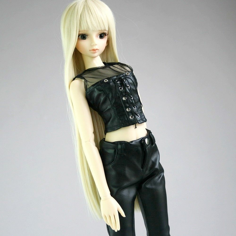 [wamami] 367# Black 1/4 MSD <font><b>1/3</b></font> SD DZ Synthetic Leather Top/Waistcoat/<font><b>Clothes</b></font> <font><b>BJD</b></font> Dollfie image