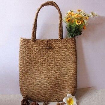 LJL Women Fashion Designer Lace Handbags Tote Bags Handbag Wicker Rattan Bag Shoulder Bag Shopping Straw Bag