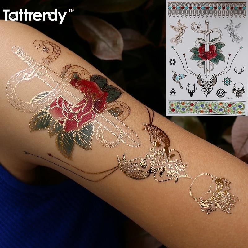 Womens Temporary Tattoos: Body Art Temporary Tattoos Gold Flash Metallic Tattoo Fake