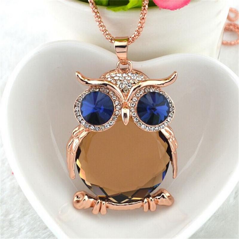 8 Colores Trendy Owl Necklace Moda Rhinestone Cristalino Joyería - Bisutería - foto 4
