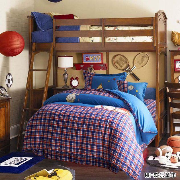 Teen Bed Linen Part - 50: Boys Plaid Cartoon Bedding Quilt Set Twin Queen Bed Linen Cotton  Embroidered Duvet Cover Teen Adult ...
