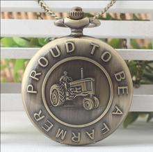 Vintage Fashion quartz creative proud to be a farmer Bronze antiques Flip clock digital Necklace pocket watches(China)