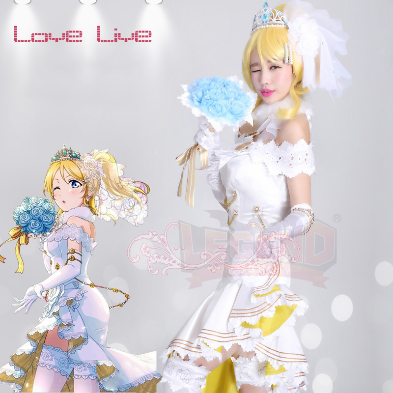 Love Live! cosplay Ayase Eli costume wedding June Ver awakening dress skirt love live costume girl costume free ship new fashion love live ayase eli yellow girl s cosplay party wig with ponytail