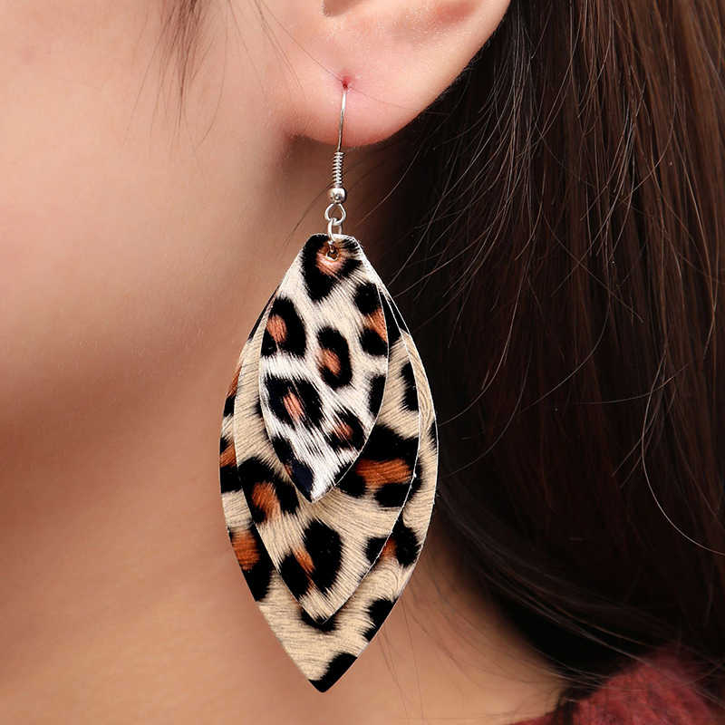 New Long Retro Leopard Dangle Earrings Women Hot Fashion Simple Double Leafs PU Leather Statement Earrings Jewelry Female Gift