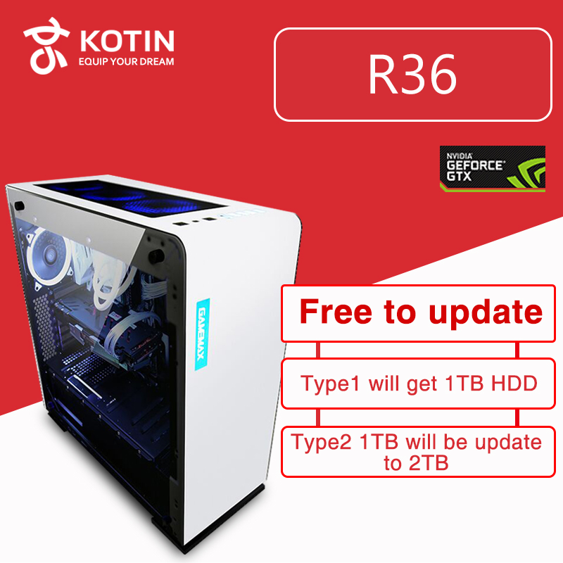GETWORTH R36 Intel i7 8700 Gaming PC Desktop 240GB SSD GTX 1060 Graphics Card Computer Home Intel 8th Generation CPU 5 Free Fans getworth t4 computer tower