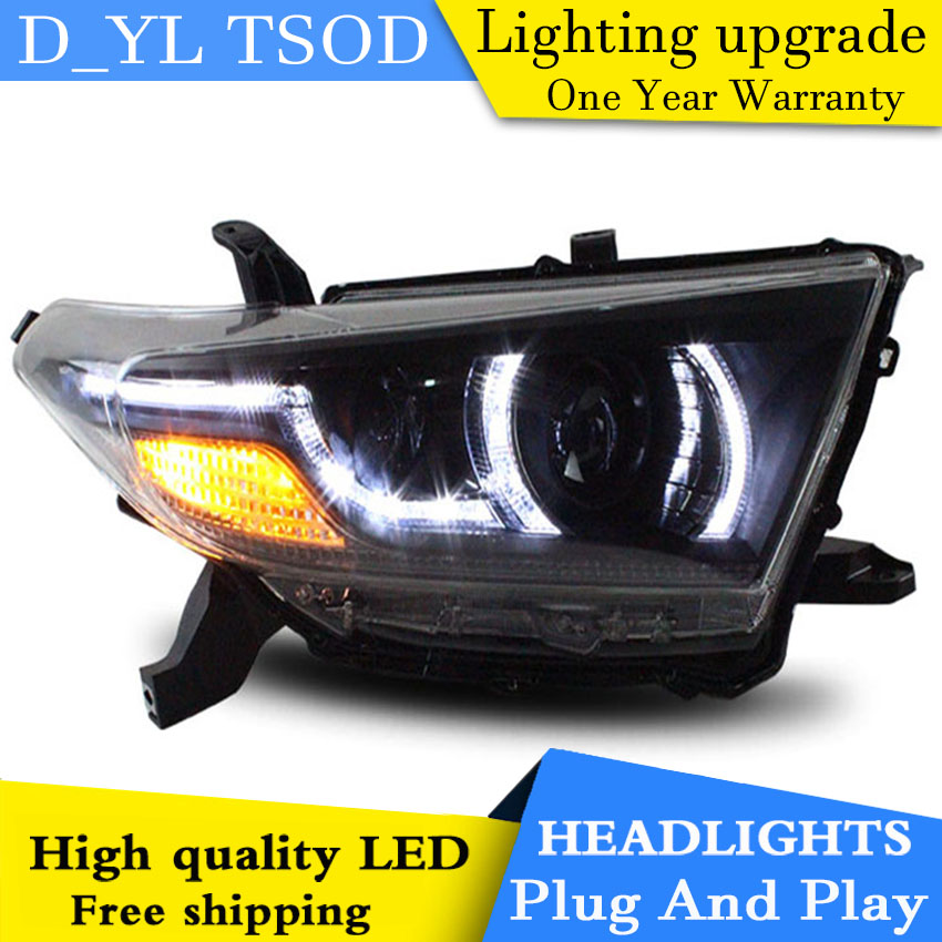 D YL Car Styling for Toyota Highlander Headlights 12 14 Highlander LED Headlight DRL Lens Double