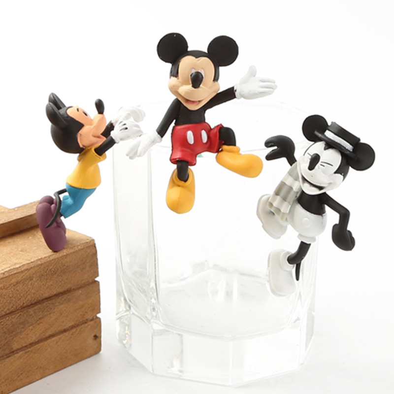3PCS/SET Mickey Mouse Cup Doll Cute PVC Action Figure Doll Collection Model Toy Doll Gifts Free Shipping блузки gulliver блузка