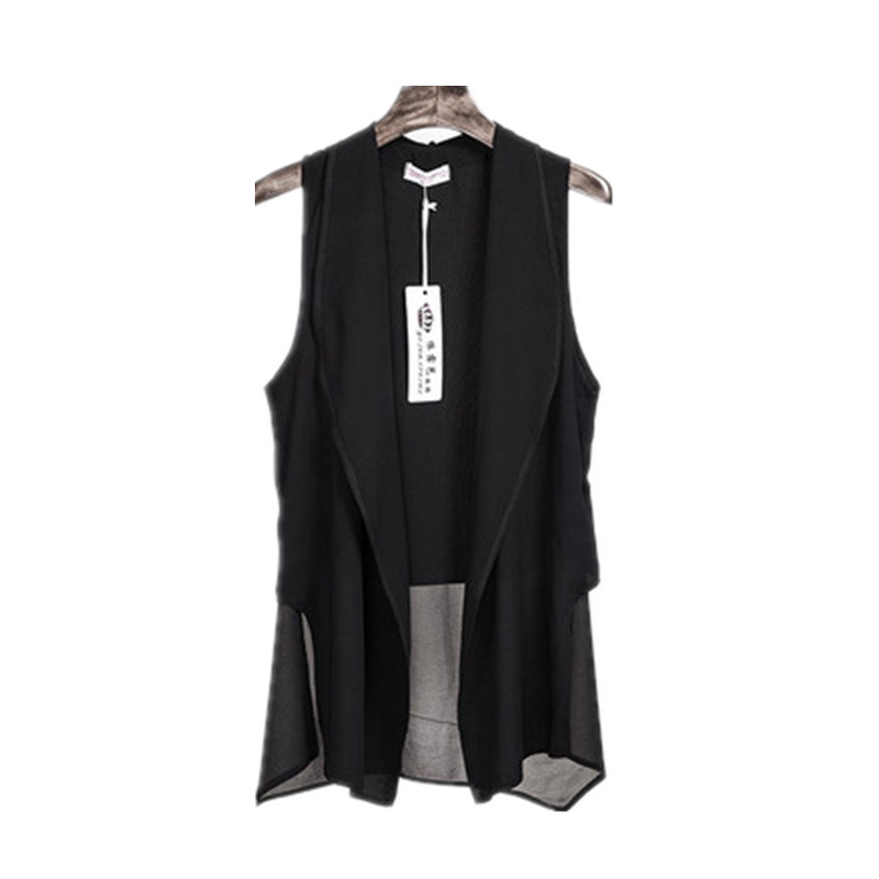 Asymmetry White Summer Long Chiffon Vests For Women Korean Fashion Sleeveless Cardigan Female Vest Waistcoat Black Jacket Coat