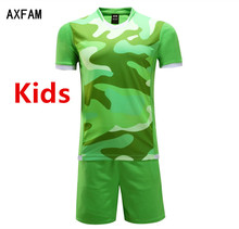 Kids Football Uniforms Blank Short sleeves Children's Soccer Jerseys Sets 2017 survetement football Training Suit Jun66005-2
