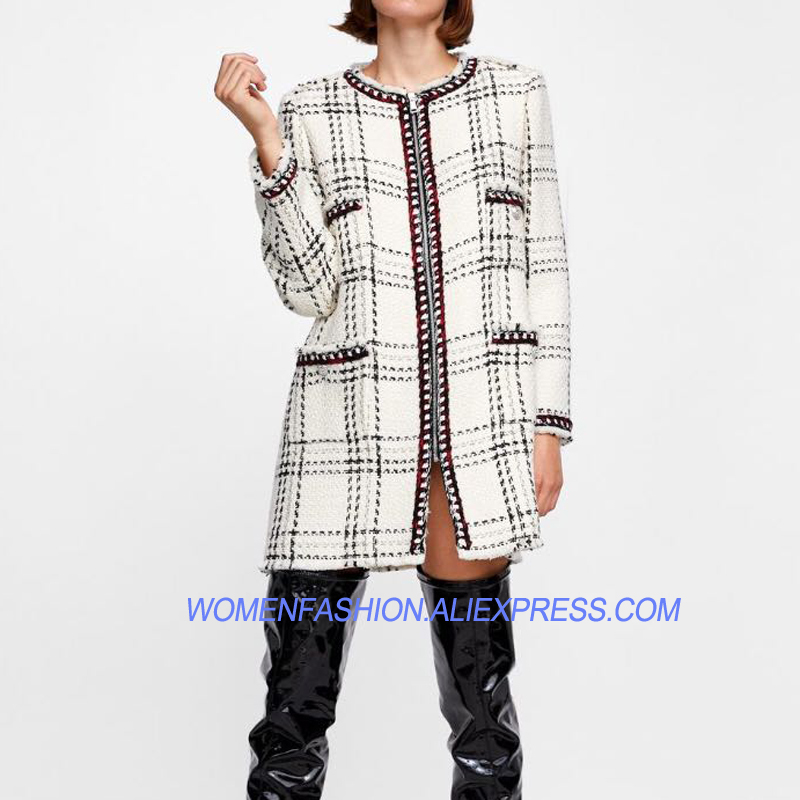32220759aabe Piste Top Tweed Femmes Plaid Manteau 2018 Pardessus Date De Zip Designer  Long Qualité vrEOqr