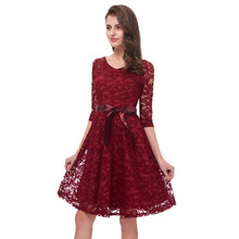 Beauty Emily Wine Red Lace Bridesmaid Dresses 2019 Short for Women A-Line Half Sleeve Wedding Party Prom