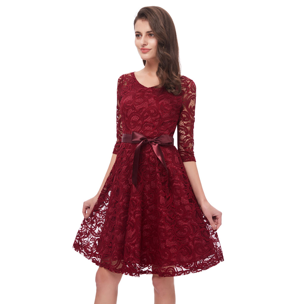 Beauty Emily Wine Red Lace   Bridesmaid     Dresses   2019 Short for Women A-Line Half Sleeve Wedding Party Prom   Dresses