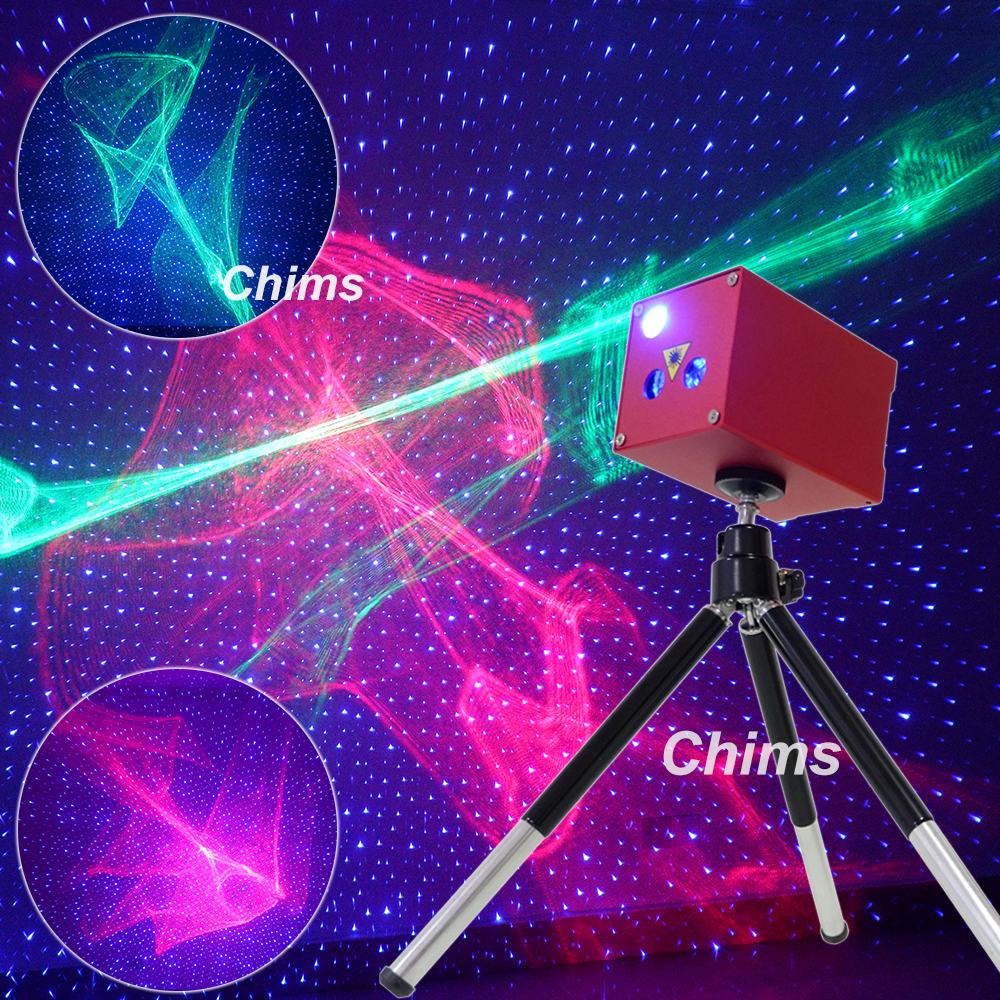 Chims Mini Portable Laser Lighting Cordless Rechargeable RGB Aurora Meteor Star Projector Outdoor Travel Camping Christmas Party