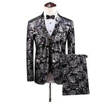 Благородное мужское платье комплект из 3 предметов тонкий дизайн серебряный мужской костюм куртка с брюками и жилетом Азиатский размер
