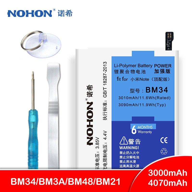 Original NOHON BM34 BM21 BM48 BM3A Bateria Para Xiao mi mi Nota 2 3 Bateria de Alta Capacidade de Substituição Ferramentas Gratuitas pacote de varejo