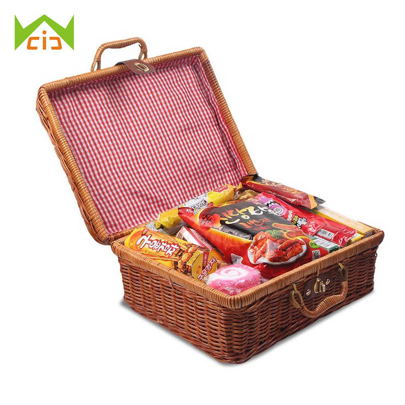 WCIC Bamboo Picnic Basket Storage Fruit Basket Mini Food Basket Storage Container for Outdoor Rattan Baskets Travel Suitcase