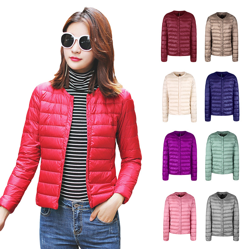 Single Breasted Women Down Jackets 2018 New Light Thin Down Coats O-Neck Slim Short White Duck Down Outwear Spring Coats YP0902