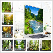 Green Forest Woods Bath Curtain Waterproof Shower Curtains Accessories Bathroom With 12 Hooks 3D Natural