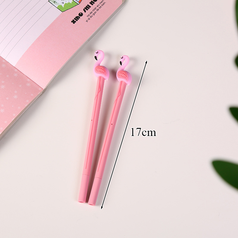 Korean Stationery 0.5mm Creative Plastic Flamingos Gel Pen Kawaii Novelty Black Ink Neutral Pens For Kids Gift School Supplies