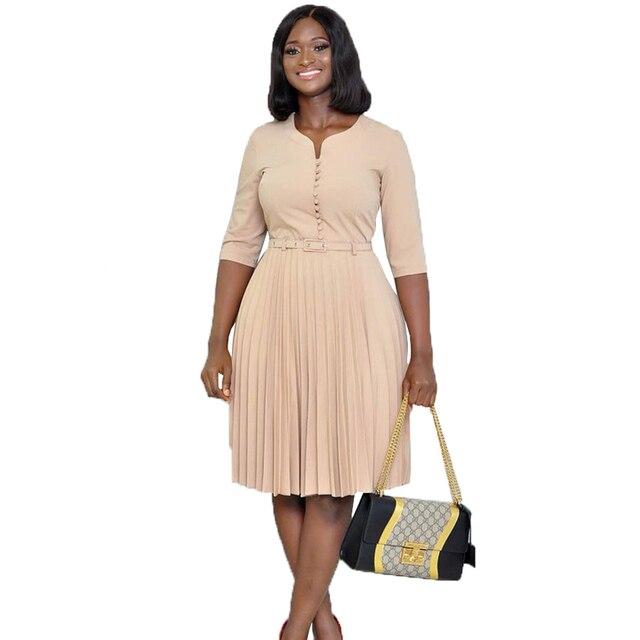 US $23.7 |south africa women summer casual Dress 2019 fashion belt pleated  vintage dresses femme plus size midi Dresses Africaine vetsido-in Dresses  ...