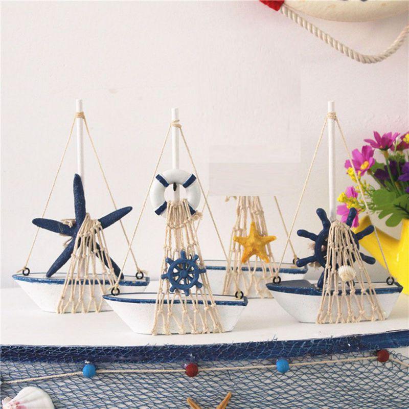 Vintage Marine Wooden Sailing Ship Sail Boat Ship Party Home Decor Model Craft Marine Nautical Household Arts Ornaments