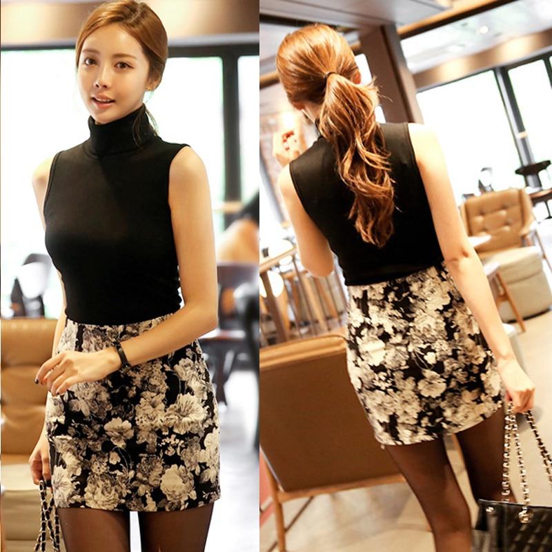New Fashion Cotton Women Turtleneck Sleeveless Slim T-shirt Basic Shirt Female Casual Top Tee Spring Free Shipping iPhone