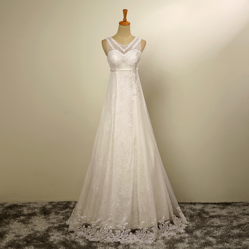 Aliexpress Buy White Pearls Wedding Gown Appliques Tulle And Lace Floor Length No Train Real Pictures A Line Elegant Dresses From Reliable