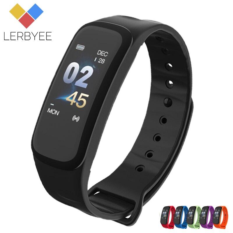Lerbyee C1Plus pulsera inteligente pantalla Color presión arterial Fitness Tracker Monitor de ritmo cardíaco Smart Band deporte para Android IOS