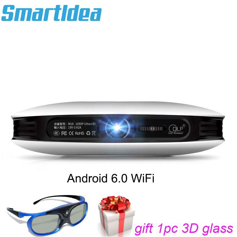 Beminnelijk Smartldea M18 Mini Smart Real 3d Projector 12000 Mah Batterij Android6.0 Dlp Hd 1080 P Thuis Proyector Ondersteuning Miracast Airplay Ac3