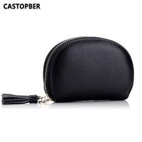 Fashion Women Small Tassel Bag Genuine Leather Coin Purse Woman Cow Leather Mini Zipper Bags Korean