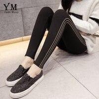 YuooMuoo Women Spring Autumn Stripes Plus Size Bottom Korean Style Slim Pencil Pants Skinny Black Trousers